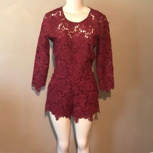 Lovers + Friends burgundy lace romper size S